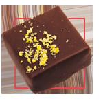 Praline chocolat noir - Massepain pistache